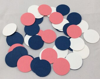 Coral and Navy Confetti, Paper Confetti, Party Confetti, Table Scatter, Handmade Confetti, Birthday party, Bridal Shower, Wedding Shower