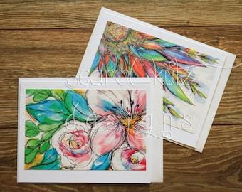 Flower Doodle Greeting Card Set with Envelopes / 2 Doodle prints of original art / Blank Greeting Card Set / Doodles / All Occasion