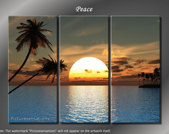 Framed Huge 3 Panel Tropical Palm Tree Sunset Peace Giclee Canvas Print - Ready to Hang