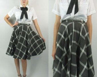 1970s Wool Plaid Circle Skirt