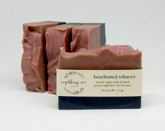 Bourbon Tobacco Soap, Handmade Soap Canada, Bar Soap for Men's Face, Natural Soap with Shea Butter, Chemical Free Soap, Olive Oil Soap