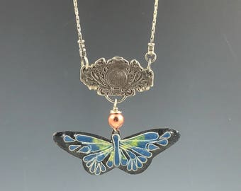 Turquoise on Black Butterfly