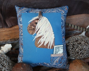 Sorrel Pony Tooth Fairy Pillow Blue Western Paisley Horse
