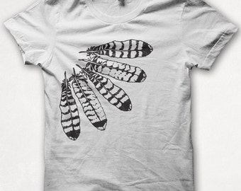 Womens Tshirt, Graphic Tee, Feather Shirt, Hawk Feathers, Forest and Fin, Screenprint - White