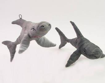READY TO SHIP Vintage Style Spun Cotton Shark Ornament/Figure