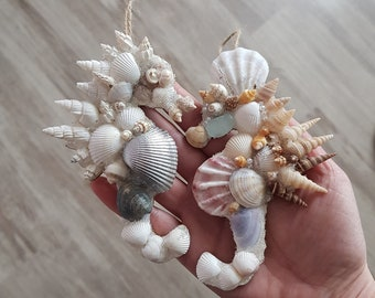 Coastal Christmas Ornament Seahorse Hanging Beach Decor Holiday seashell ornaments Coastal Wedding shell decor Nautical Beach lover gift