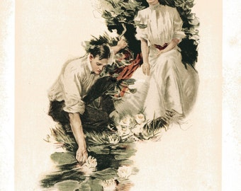 WATER LILLIES- Howard Chandler Christy Vintage 1906 Book Print Victorian Color Lithograph to Frame