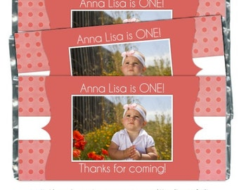 First Birthday Candy Wrappers  -fit over 1.55 oz chocolate bars, Polka Dot Birthday, 1st Birthday Party Favor, Chocolate Bar Wrappers