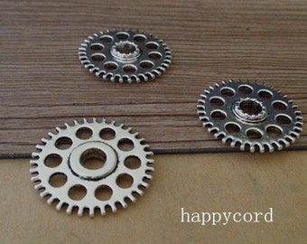 10pcs  Antique silver gear pendant charm 26mm