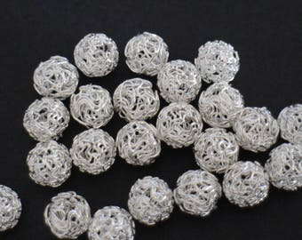 3 beads twisted 12 mm silver balls