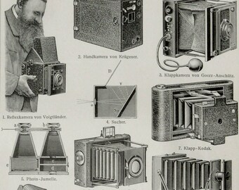 1900 Antique print of PHOTO CAMERAS and other photo apparates, lens... Photography. 118 years old engraving
