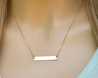 Gold Bar Necklace, Modern Gold Bar Necklace, Blank Gold Bar Necklace, Gold Filled Bar Necklace, Gold Bar Pendant, Quality Gold Bar Necklace