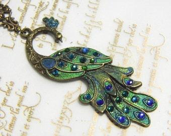 Art Nouveau peacock necklace, handpainted jewellery, peacock pendant, peacock crystal, victorian necklace, art nouveau jewellery