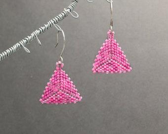 Beaded Earrings, Triangle Earrings, Seed Bead Earrings, Pink Earrings, Geometric, Gift for Her