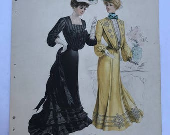1902 Fashion Illustration Ladies in Shirt-Waist Gowns The Delineator 2 Sided Print Color Plate