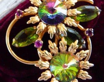 D & E verified Juliana watermelon rivoli brooch pin   inverted stones   vintage jewelry   unsigned beauty   1960s Juliana