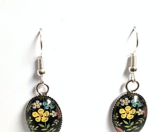 Christmas gift idea - earrings green pink blue yellow flowers and black glass cabochon
