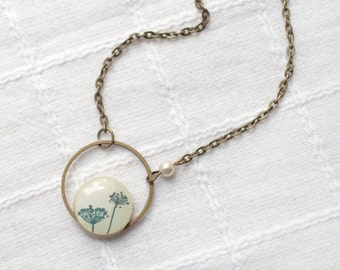 Botanical necklace, Mothers day gift, Natural History necklace, Botanical jewelry, Nature necklace, Ivory necklace, Rustic necklace