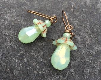Mint and Copper Czech Glass  Dangle Earrings \\ Mint Drops  Boho Jewelry \\Wedding Jewelry