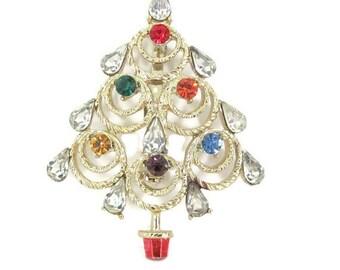 Vintage Christmas Brooch, 1960's Gold Rhinestone Christmas Tree Brooch, Christmas Tree Pin, Holiday, Christmas Jewelry
