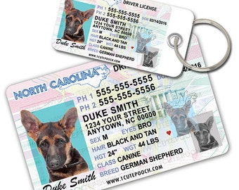 North Carolina Driver License Custom Pet ID Tags and Wallet Card - Dog ID Tag - Personalized Pet ID Tags