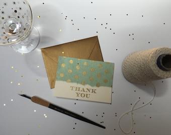 Teal & Gold Polka Dot Thank You Card