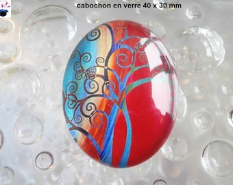 1 40x30mm theme tree of life glass cabochon