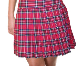 Long Junior Red, Tartan, Stewart, School Girl Skirts Plaid Pleated (OPENS / CLOSES with hook and loop fasteners strip)