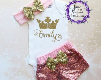 Personalized Princess Birthday Outfit, First Birthday Outfit, Princess Shirt, Princess Bodysuit, Princess Party, Birthday Girl Outfit
