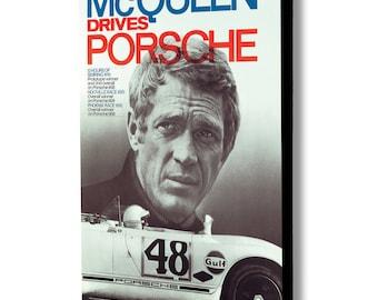 Steve McQueen Drives Porsche - Canvas Wall Art - Various Sizes