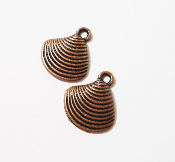 Copper Seashell Charms 14x12mm Antique Copper Shell Charms, Seashell Pendants, Nautical Charms, Ocean Charms, Metal Charms for Jewelry, 10pc