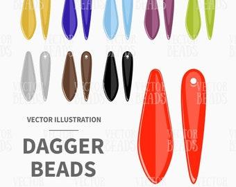 Clip Art Set of Dagger Beads - Digital Beads - Instant Download