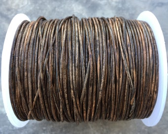 1.5mm Natural Destroy Brown Leather Round Cord - Distressed brown