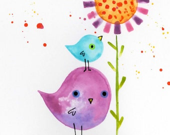 Cute Bird with Baby flower original watercolor painting lauren ingraham