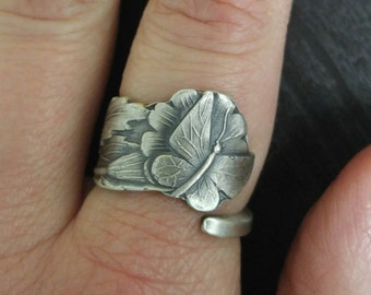 Dainty Butterfly Ring, Sterling Silver Spoon Ring, Fultterby Ring, Floral Insect Ring, Handmade Gift, Petite Ring, Custom Ring Size (312)
