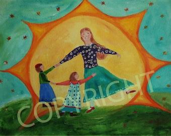 Sunburst print , dancing family, vibant colours,