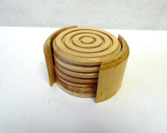 Wood Drink Coasters Set of 6 Caddy Holder