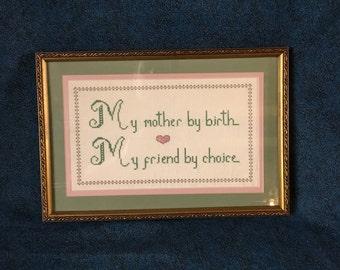 """Vintage """"Mother """" Framed Cross Stitch"""