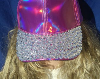 Holographic Bejeweled Baseball Hat