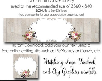 DIY Etsy Cover Photo - Add your own Text, Instant Download, The Renee, New Cover Photo For Etsy, Made to Match Graphics