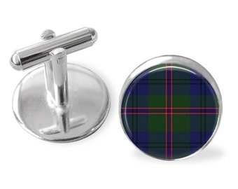 LAWRIE TARTAN CUFFLINKS / Scottish Tartan Cuff Links / Tartan Jewelry / Personalized Gift for Him / Ancestral Jewelry / Lawrie Clan Plaid
