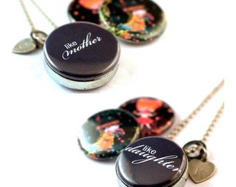 Mother Daughter Jewelry, Mother Daughter Necklaces, Locket Necklaces, TWO Matching Sets, Both Personalized with Initial, Magnetic, Recycled