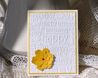 Greeting card handmade; Birthday Card, Yellow flower, Cheerful birthday card, yellow and red