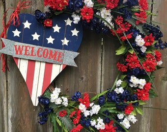 4th of July wreath, Red White and Blue wreath, Patriotic wreath, Americana Wreath, welcome wreath, Independence day wreath