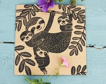 Daddy Sloth, Fathers Day Card, Original Linoprint, Linocut Card, Blank Greeting Card, Brown Kraft Card, Free Postage in UK, by Kat Lendacka