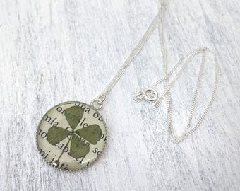 Real Clover necklace, four leaves clover, sterling silver Clover pendant, green plant jewelry, nature necklace, cool gifts for nature lovers