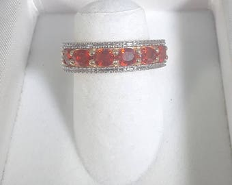 Red Orange Sapphire Ring with White Diamonds