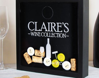 Wine Cork Holder-Wine Shadow Box-Wine Cork Shadow Box-wine lovers gift-wedding gift-wine cork keepsake-wine cork display-cork holder