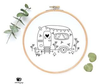 Caravan, camper van, cute whimsical, flowers, garden, house  sampler Digital hand embroidery pattern , PDF instant Download
