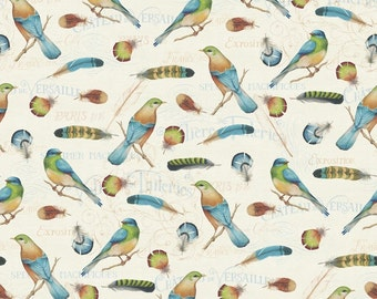 Bird Fabric - Birds & Feathers by David Textiles 3560 4C Cream - 1/2 yard